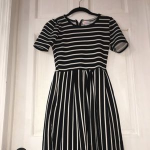 LuLaRoe Black and White Striped Dress